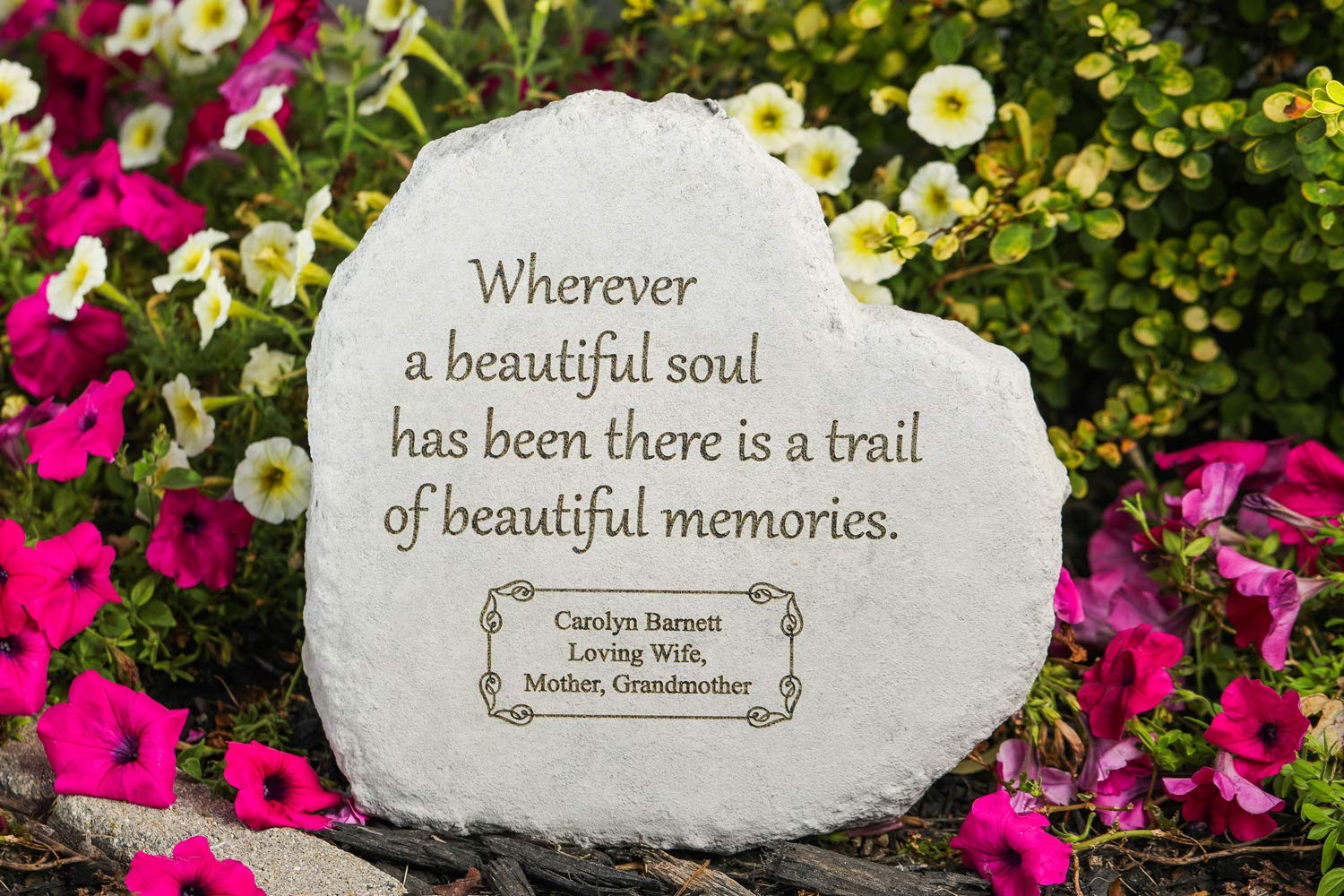 Kay Berry Inc Wherever a Beautiful Soul. 12'' Heart - Personalized Memorial Stone - Fused Glass Stone