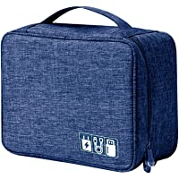 House of Quirk Electronics Accessories Organizer Bag, Universal Carry Travel Gadget Bag for Cables, Plug and More, Perfect Size Fits for Pad Phone Charger Hard Disk - Dark Blue