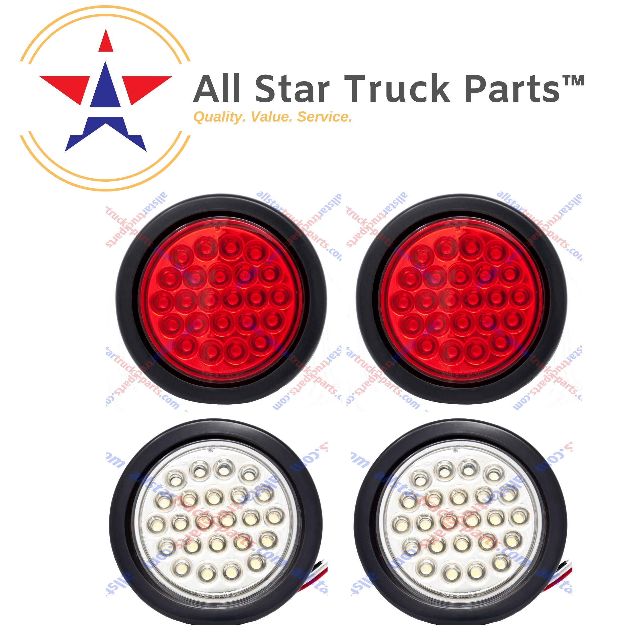 [ALL STAR TRUCK PARTS] 4'' Inch White and Red 24 LED Round Stop/Turn/Tail/Reverse/Backup Trailer Light Kit with 3 wire Pigtail Plug & Grommet- Qty 2 Red + Qty 2 White