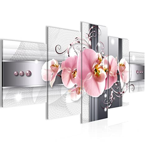 Bilder Blumen Orchidee Wandbild 200 x 100 cm Vlies - Leinwand Bild XXL  Format Wandbilder Wohnzimmer Wohnung Deko Kunstdrucke Rot 5 Teilig - Made  IN ...