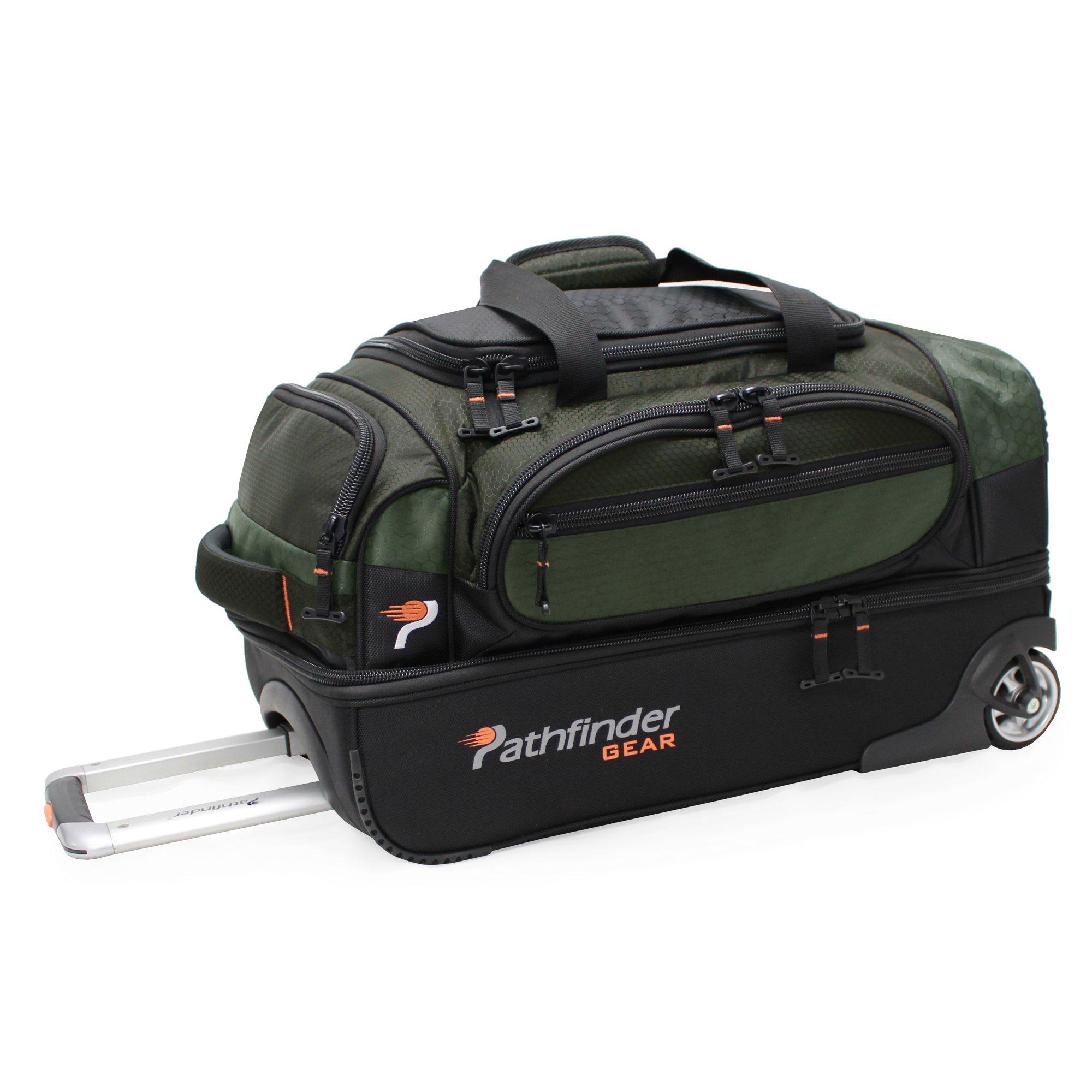 Pathfinder Gear 22 Inch Rolling Drop Bottom Duffel, Olive, One Size