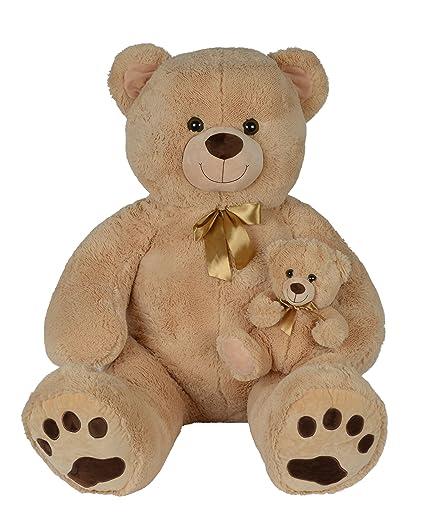 Nicotoy oso de peluche con bebé Beige 140 cm