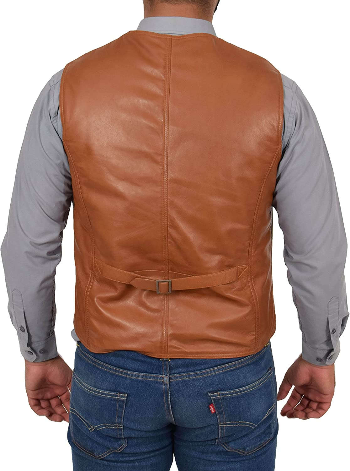 Mens Real Leather Traditional Style Classic Waistcoat Gilet Vest Petrelli Tan