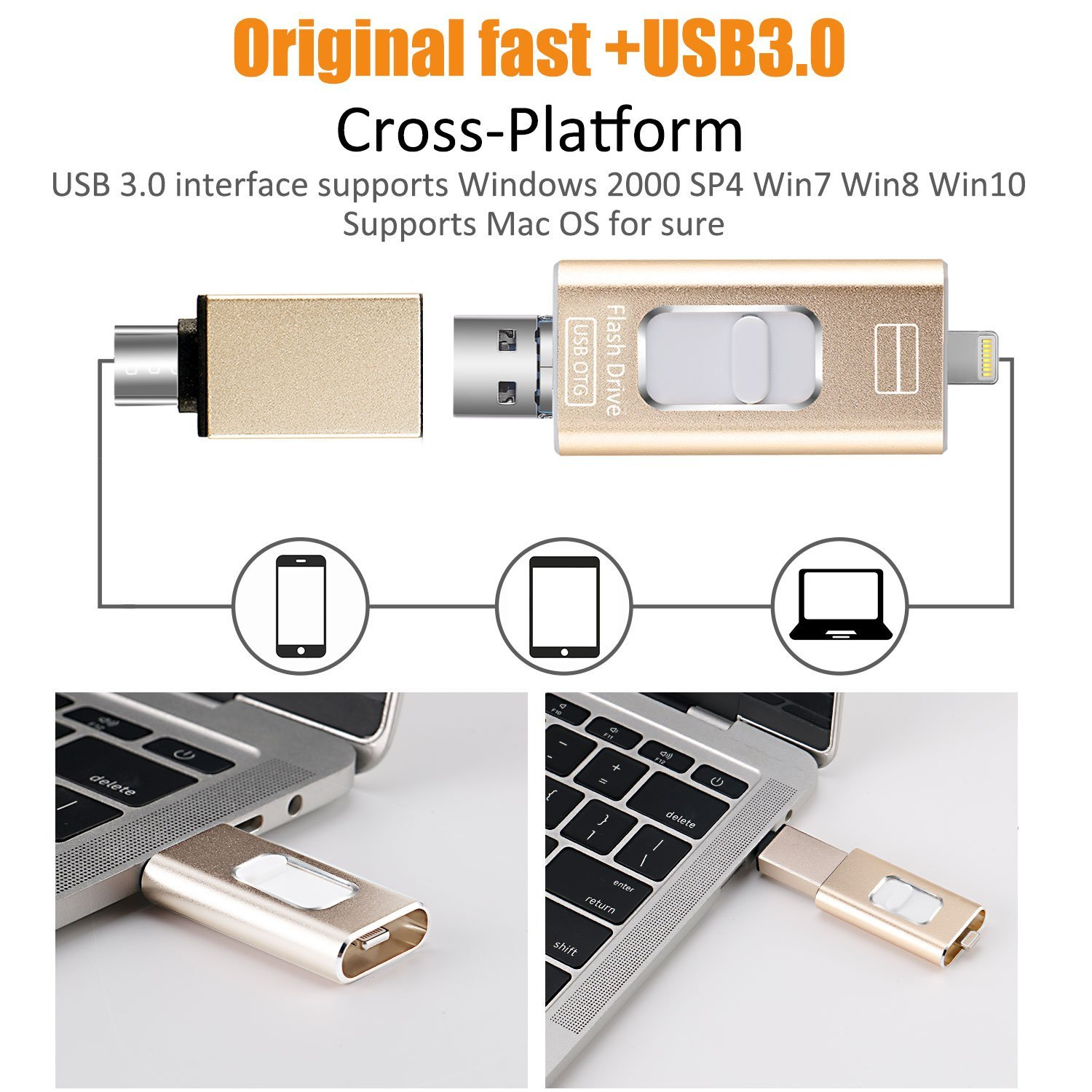 128GB 3 in 1 iPhone USB Flash Drive 128GB,iPhone Memory Flash Drive Pen Drive OTG Type-C,USB External Memory,iPhone USB Storage,Lightning Memory Stick for iPhone//ipad//iPod//Android//PC