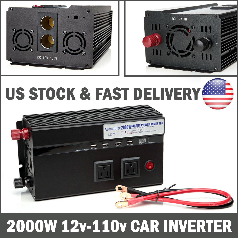 Autofather Car Power Charge Inverter 2000W DC 12V To AC 110V - USB Charging Ports + US Standard Sockets + Digital Display + Cigarette Sockets For Phone/Laptop/DVD/RV/Camera/Tablets Travel Converter