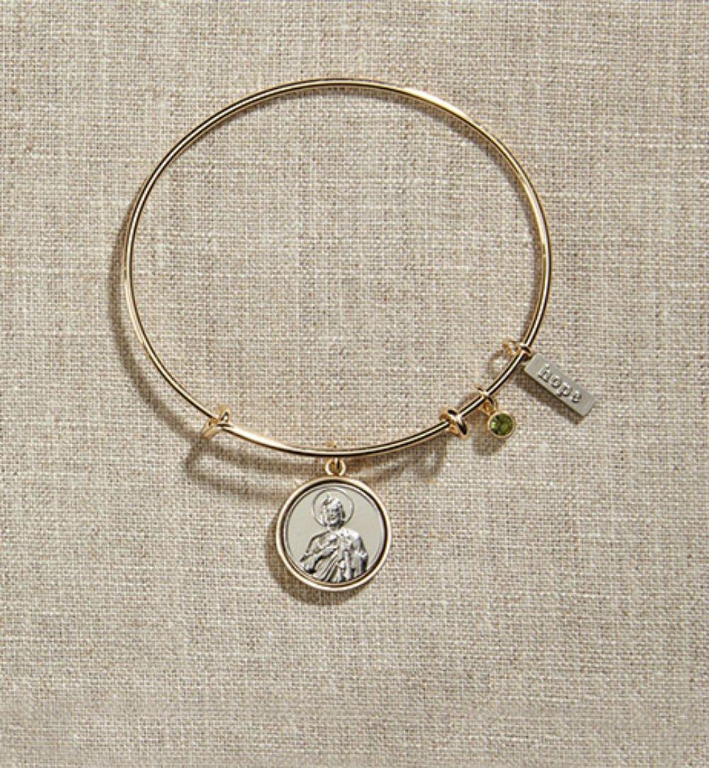 Set of 3 Vintage Blessings St. Jude Gold Bangle Bracelet