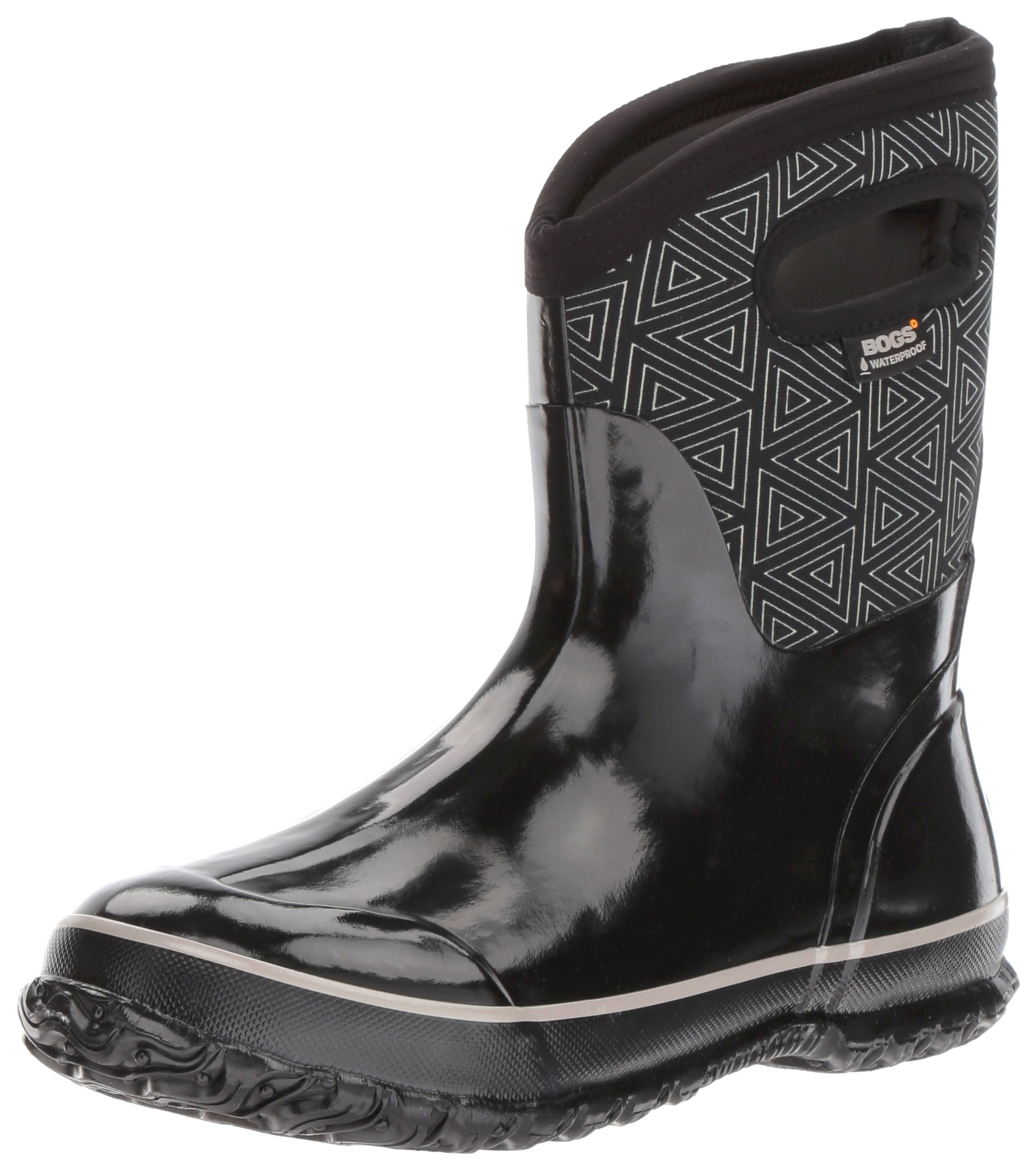 Bogs Women's Classic Triangles Mid Snow Boot, Black/Multi, 7 M US by Bogs