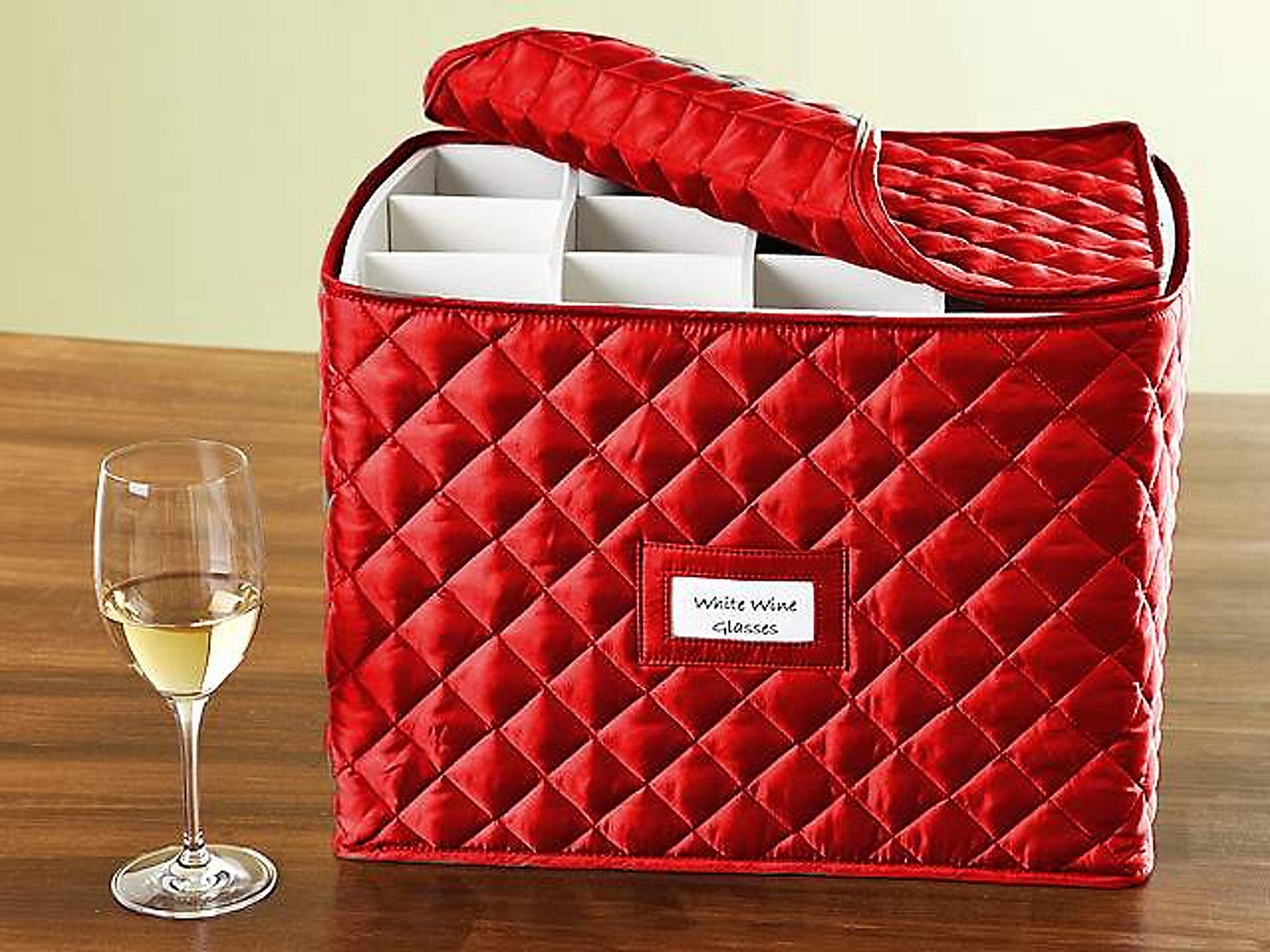 CoverMates – Stemware Storage 15L x 12W x 12H – Diamond Collection – 2 YR Warranty – Year Around Protection - Red
