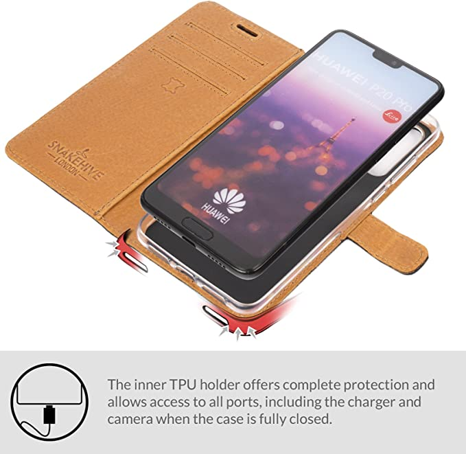 Magnetic Closure Huawei P20 Wallet Case - Red Card Holder Hand Strap CUSKING Premium Leather Cover with Silicone Inner Case for Huawei P20