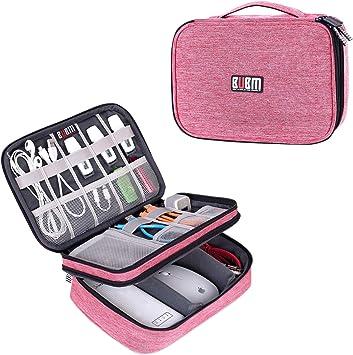BUBM Estuche para Eléctricas Organizador de Accesesorio Bolsa de Viaje para Cables Cargador,Gadget de Memoria USB Bolsillo para iPad Mini(Mediado, Vaquero Rosa): Amazon.es: Electrónica