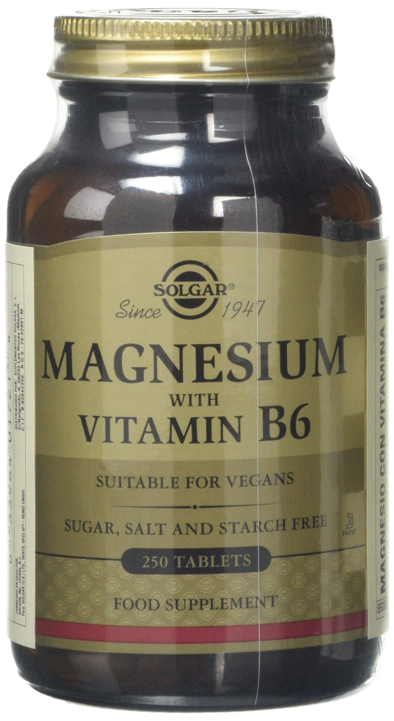 Solgar – Magnesium with Vitamin B6, 250 Tablets