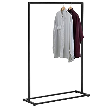 Metal Freestanding Single Bar Garment Rack Commercial Retail Clothing Display Stand Black