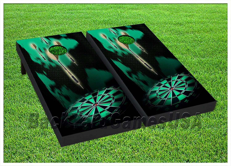 ビニールラップCornholeボードデカールダーツグリーンブラックバッグToss Gameステッカー291   B076L6DBZ2