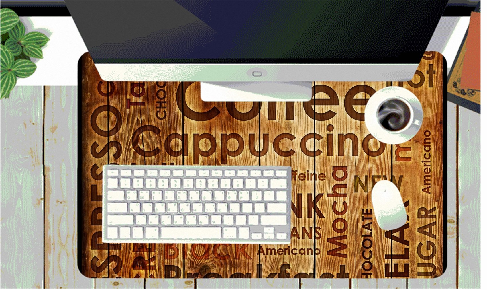 MSD Large Table Mat Non-Slip Natural Rubber Desk Pads Image 15092624 Sorts of Coffe on Wood Background by MSD (Image #2)