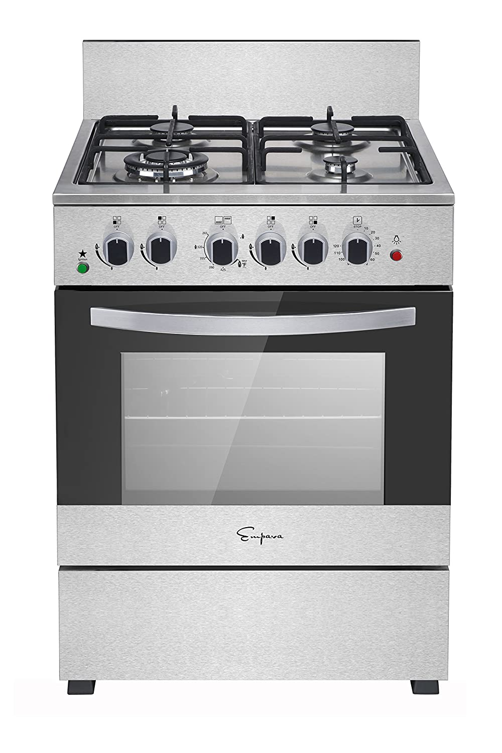 "Empava 24"" Slide-In Free Standing Gas Range W/Gas Rotisserie Single Oven and 4 Italy Sabaf Burner Cooktop EMPV-24GR02AT-LTL"