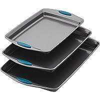 Rachael Ray 47425 3-Piece Cookie Pan Steel Baking Sheet Set, Marine Blue