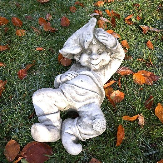 Antikas - Estatua de Piedra Chico durmiendo con la Hoja - decoración jardín Borde del entanque - Figuras de jardín Resistente a la Intemperie: Amazon.es: Jardín