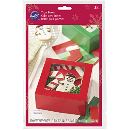 Wilton Red and Green Square Treat Boxes, 3-Piece