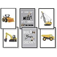 WIETRE® 6-częściowy zestaw obrazów na pojazdy budowlane, koparka, żabka, pokój dziecięcy, dekoracja | obraz chłopięcy…