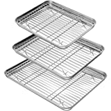 YIHONG Baking Sheet with Rack Set (3 Sheets+3 Racks), Stainless Steel Baking Pans Cookie Sheets with Cooling Racks for…