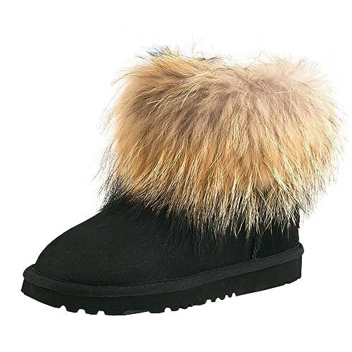 Shenduo Zapatos Invierno Clásicos Botas de Nieve de Piel con Lana Interno para Mujer D8751