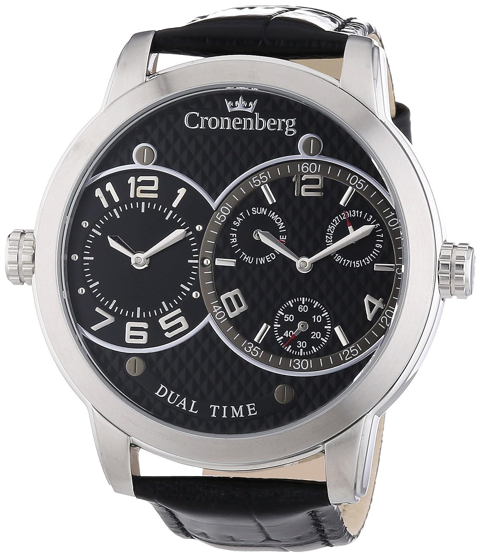 Cronenberg Herren-Armbanduhr XL Newton Analog Quarz Leder 12079W2