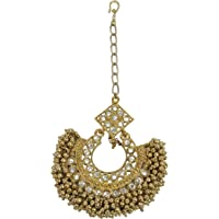 MUCH MORE Gold Plated Beads Dropping Mang Tikka For Women