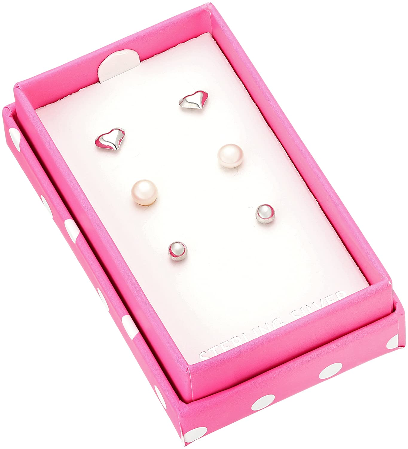 Ball and Heart Set with Pink Polka-Dot Gift Box Stud Earrings Girls Sterling Silver Childrens Pearl