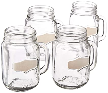 WaterBeer Base Beverage Of 4 Fun Jar With HandleSet Yorkshire Drinking Mugs Glassware For Glass Heavy Circleware Cups 92040 Mason And Chalkboard NwXnP80Ok