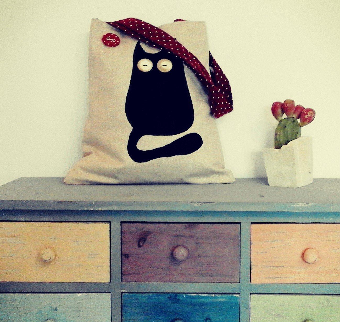 Schultertasche mit schwarzem Katzen shopper
