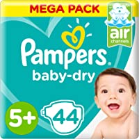 Pampers Baby-Dry Diapers, Size 5+, Junior+, 44 Count