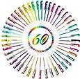 Ohuhu® Set 60-Colori Penne Roller a Inchiostro Gel per Colorazione/ Schizzo/ Scrapbook/ Craft/ Disegno/ Pittura e Scrittura Adatto per Scuola Ufficio/ Regalo Ideale per Festa dei Bambini Vari Colori