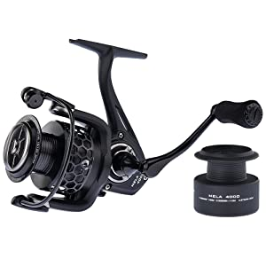 KastKing Mela II Spinning Reel - Light, Smooth Spinning Fishing Reel, 10 + 1 BB, Powerful Carbon Fiber Drag, FREE Spare Graphite Spool