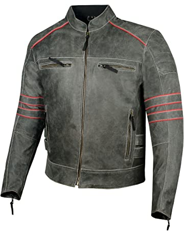 f89437c72a3 Men s Brotherhood Classic Leather Motorcycle Distressed Armor Biker Jacket S