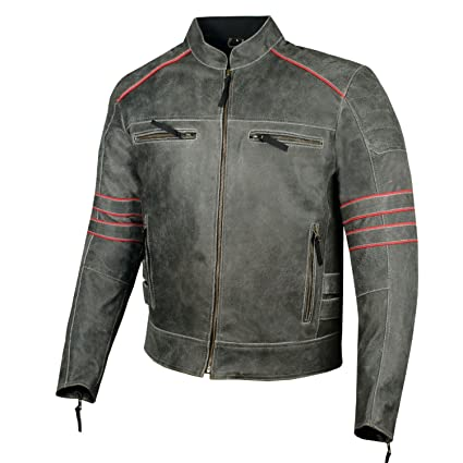 Men S Brotherhood Classic Leather Motorcycle Distressed Armor Biker Jacket L