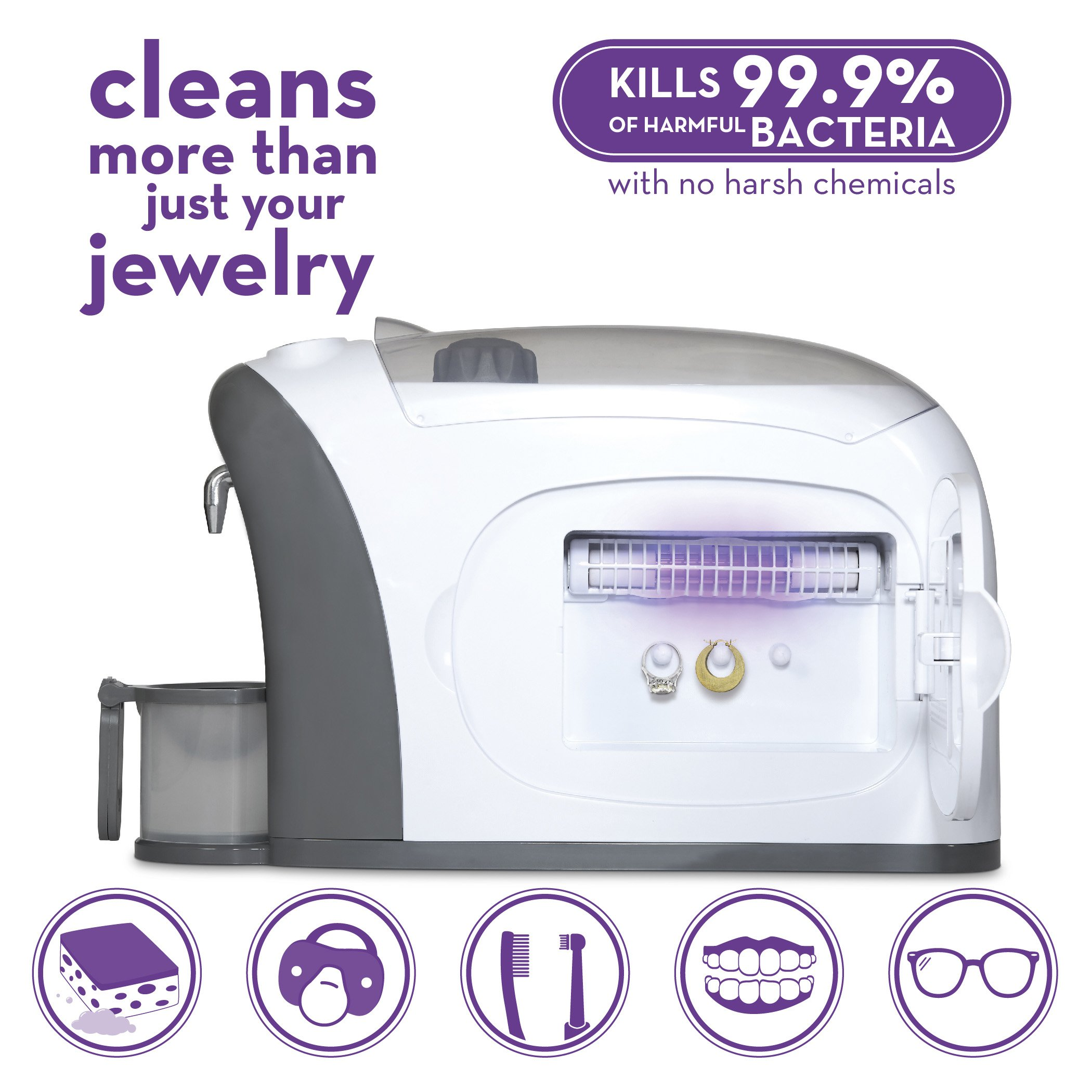 Dazzle 3 in 1 Ultrasonic Jewelry Cleaner Machine, Jewelry Steam Cleaner, UV Light Sanitizer (Kills 99.9% Bacteria) | Professional Grade for Rings, Watches, Earrings, Pacifiers, Eyeglasses, Dentures by Sienna Appliances (Image #6)