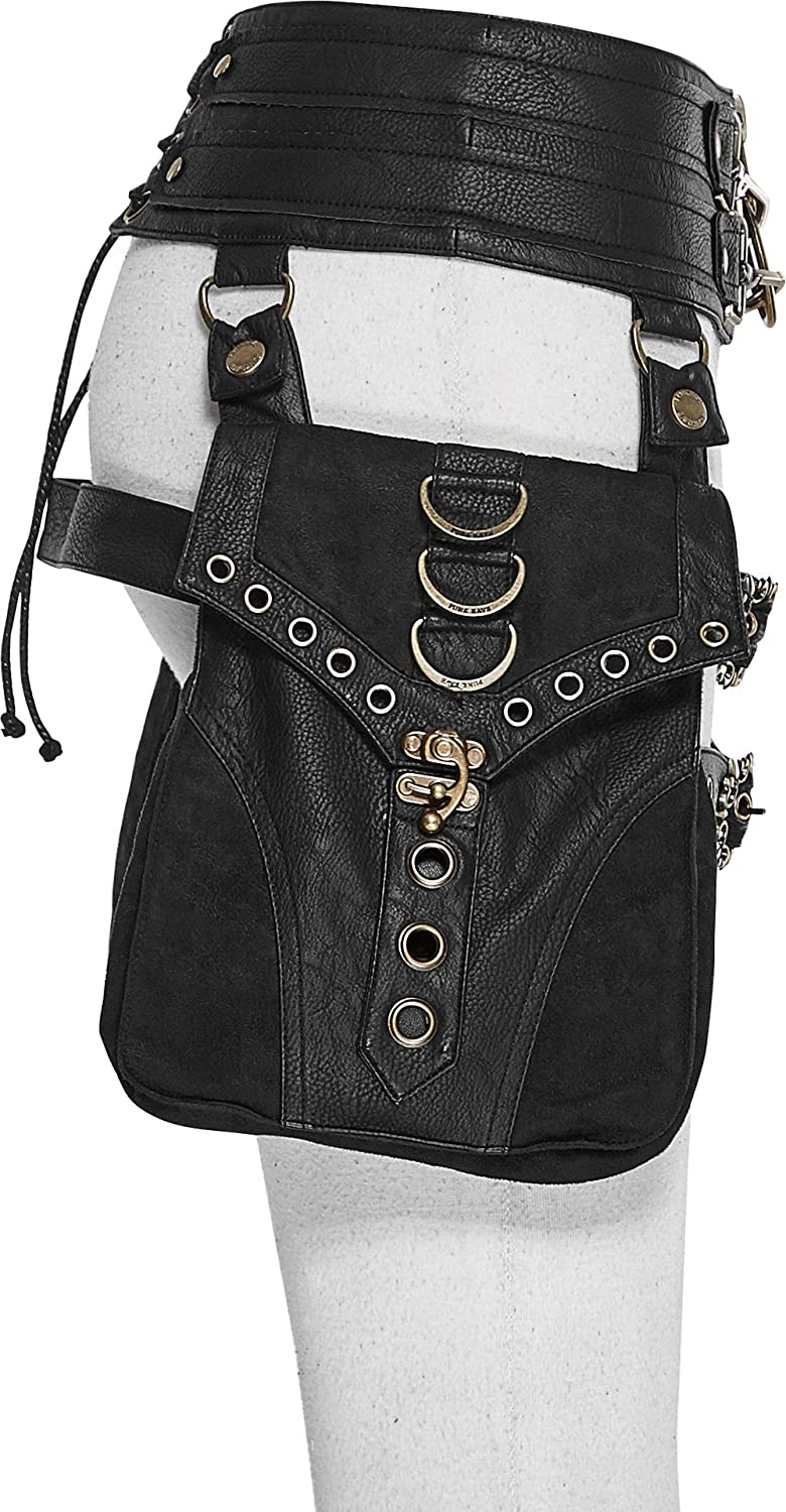 Punk Rave Gothic Waist Bag for Women Steampunk Thigh Bag with Large Capacity Bandage Waist Bag with Buckles Black 2XL