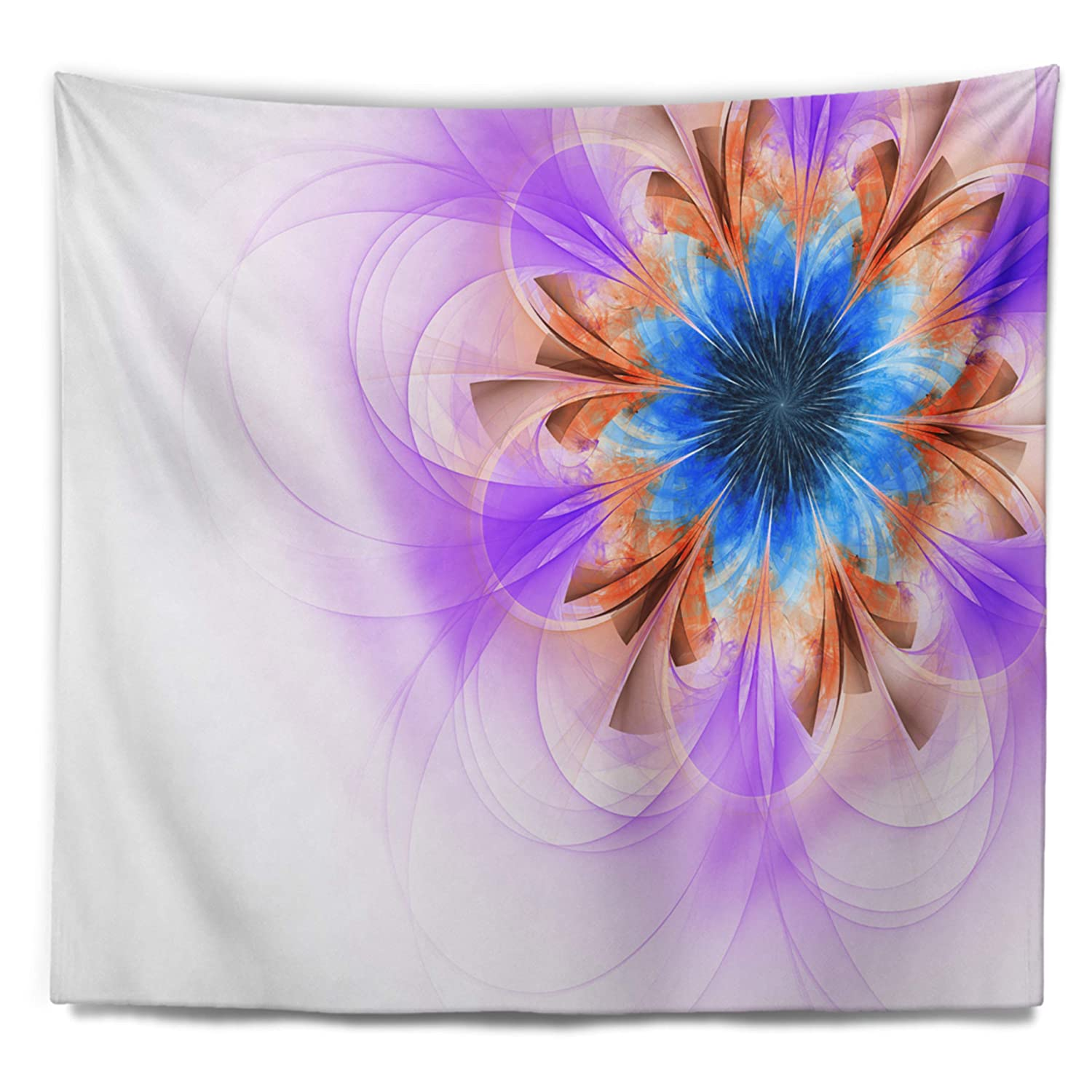 Tapestries Home Kitchen X 50 In Designart Tap12015 60 50 Blue And Purple Symmetrical Fractal Flower Floral Blanket Décor Art For Home And Office Wall Tapestry Large Created On Lightweight Polyester Fabric 60 In