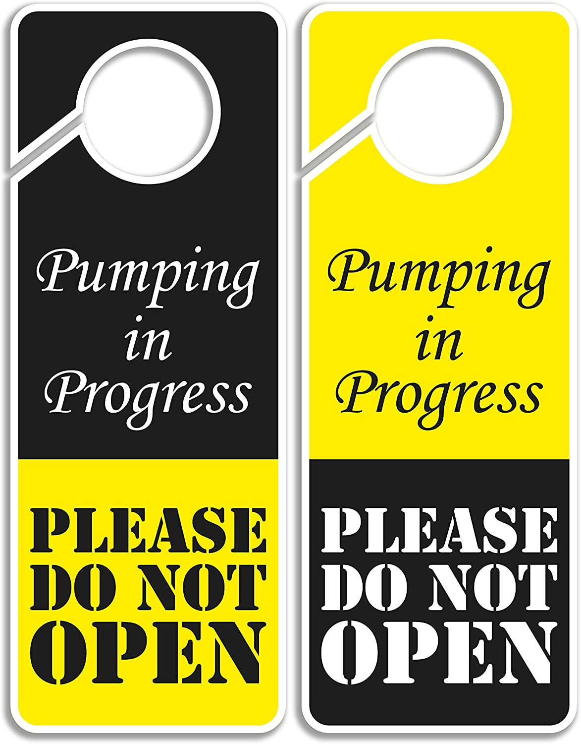 CLEVER SIGNS Do Not Disturb Sign - Pumping in Progress Do Not Open, Door Hanger 2 Pack, Double Sided, Ideal for Using in Any Places