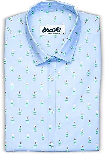 Brava Fabrics - Blusa para Mujer - Camisa Azul Estampada para Mujer - Modelo Poble Sec Vermut - Talla XXL: Amazon.es: Ropa y accesorios