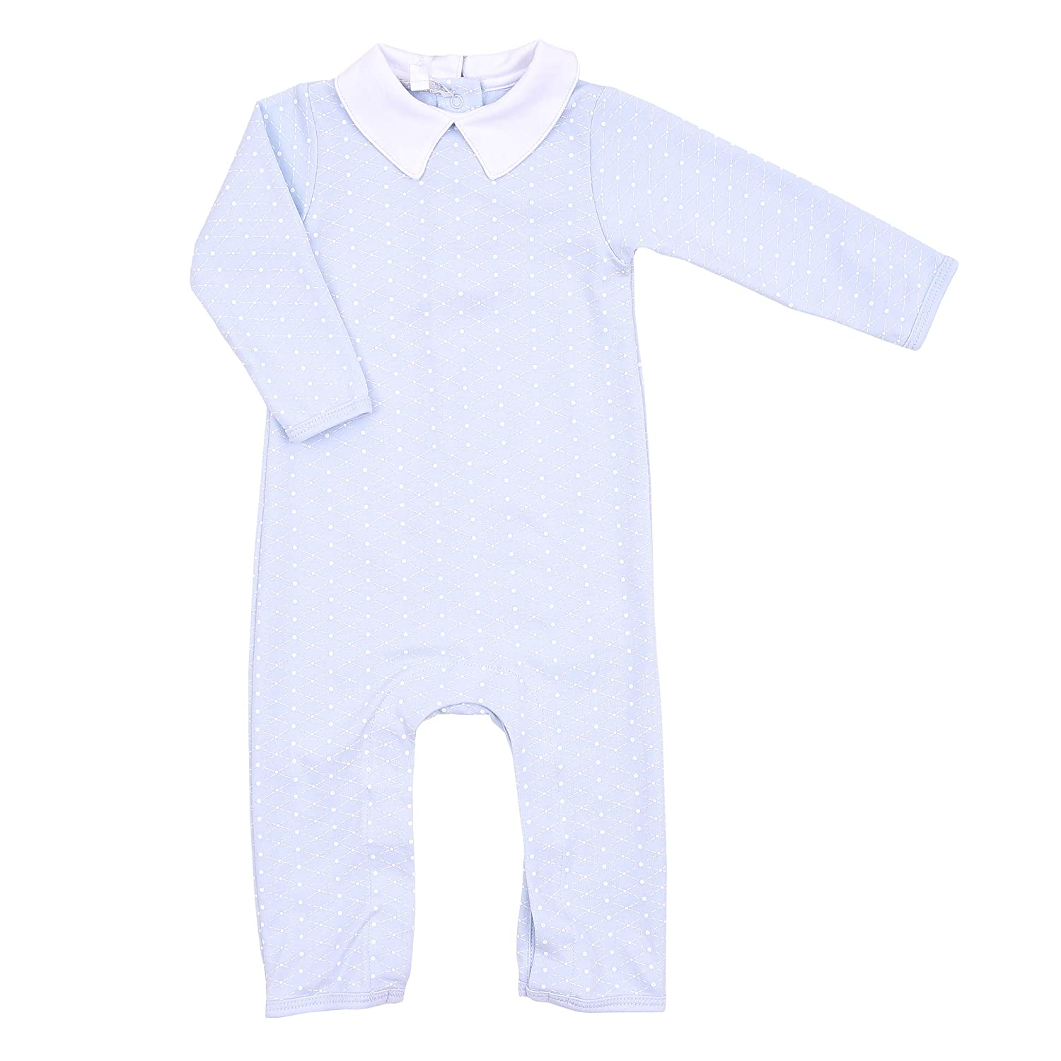 Magnolia Baby Baby Boy Catherine and Calebs Classics Emb Collared Playsuit Blue