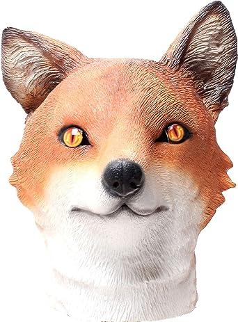 Amazon Com Fox Mask Novelty Halloween Costume Party Latex Animal Mask Full Head For Adults Fox Head Mask Clothing
