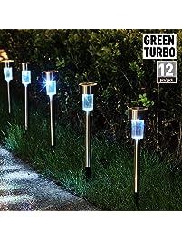 Path lights amazon greenturbo updated version solar garden lights outdoorlandscape lighting for lawnpatio aloadofball Image collections