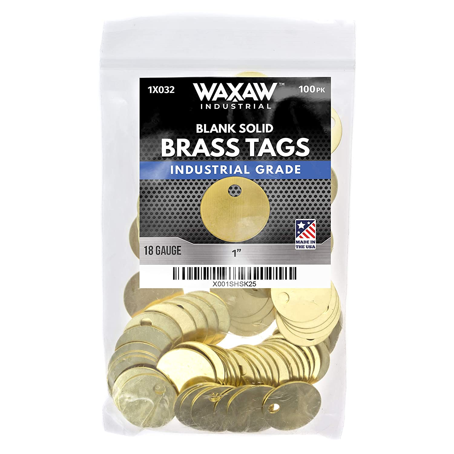 """1"""" Solid Brass Stamping Tags (100 Pack) Industrial Grade 0.040"""" Blank Chits for Pipe Valves, Keys, Tool and Equipment Labeling 