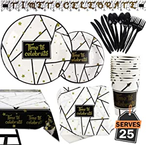 177 Piece Black and Gold Celebration Party Supplies Set Including Banner, Plates, Cups, Napkins, Tablecloth, Spoon, Forks, and Knives, Serves 25