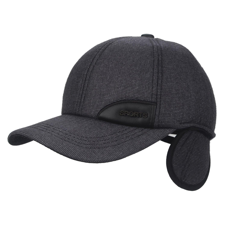 89af4bd7fb30d F Flammi Men s Winter Fleece-Lined Earflap Visor Hat Adjustable Baseball Cap  (97 Coffee
