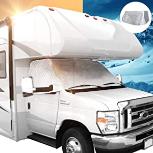 Leisure Coachworks RV Windshield Window Cover for Class C Ford 1997-2021 Motorhome Windshield Snow Cover for RV Front Window Sunshade Cover RV Accessories 4 Layers with Mirror Cutouts Silver