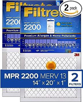 Bacteria /& Virus 2-Pack Allergen Filtrete MPR 1500 20x25x1 Smart Replenishable AC Furnace Air Filter