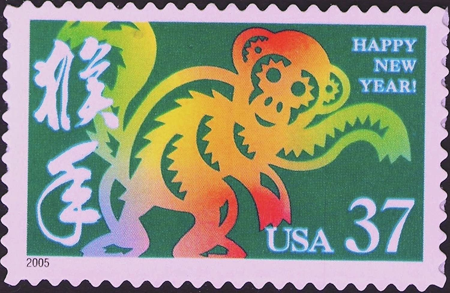 Full Sheet of 20 x 37-Cent Postage Stamps USA 2004 Year of the Monkey: Lunar New Year Scott 3832