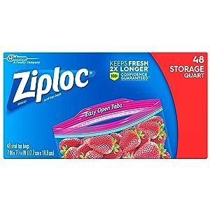 Ziploc Storage Bags, Quart, 3 Pack, 48 ct